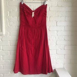 Odille Anthropologie strapless red dress size 4
